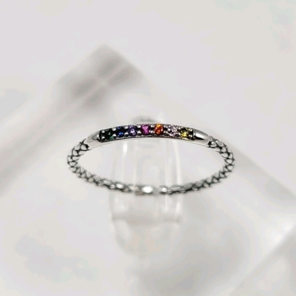 Sterling Silver Rainbow Stack Band
